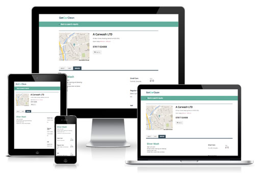 Example of how business details page looks on multiple devices